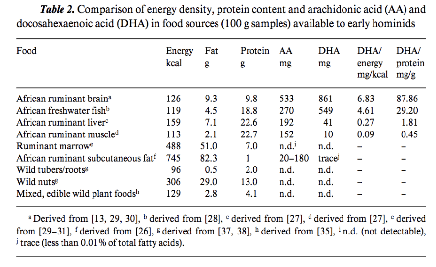 Comparison of energy density in food sources